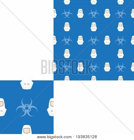 Seamless pattern of Rescue and fire with biohazard sign and white helmets on the dark blue background with pattern unit.