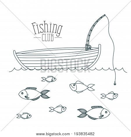 monochrome sketch silhouette boat fishing club and fish in the water vector illustration