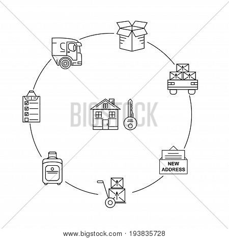 Moving. Thin line art icons. Flat style illustrations isolated. Line art icon infographic set