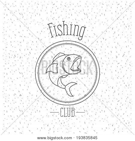 white background with sparkle of monochrome silhouette emblem with fish logo fishing club vector illustration