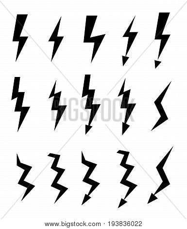 Set of icons representing lightning bolt, lightning strike or thunderstorm. Suitable for voltage, electricity and power signs. Vector Illustration