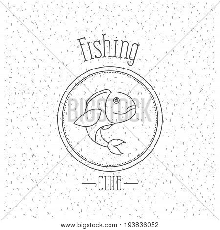 white background with sparkle of monochrome silhouette emblem with largemouth bass fish logo fishing club vector illustration