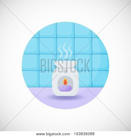 Oil burner vector flat icon Flat design of spa treatment aromatherapy or relaxation object in the bathroom interior vector illustration with shadows