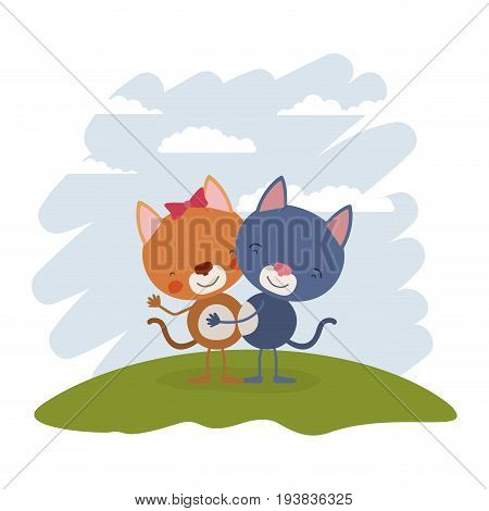 color scene sky landscape and grass with couple of cats embraced vector illustration