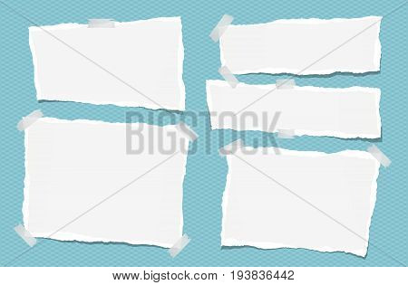 Ripped white note, notebook, copybook paper strips stuck with sticky tape on squared blue background