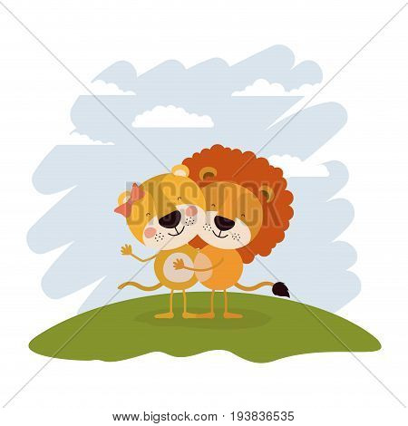 color scene sky landscape and grass with couple of lioness and lion embraced vector illustration