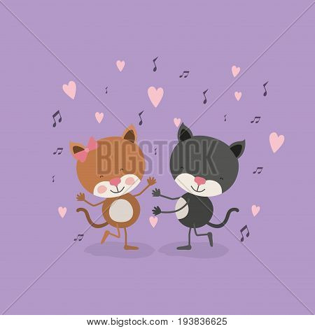 color background with couple of cats dancing in love vector illustration