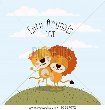 color scene sky landscape and grass with couple of lioness and lion one carrying the other cute animals love vector illustration