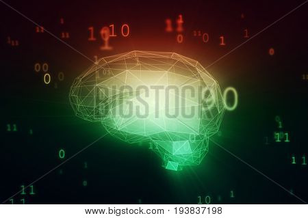 Digital Artificial Intelligence Brain In Cloud Of Binary Data 3D Illustration