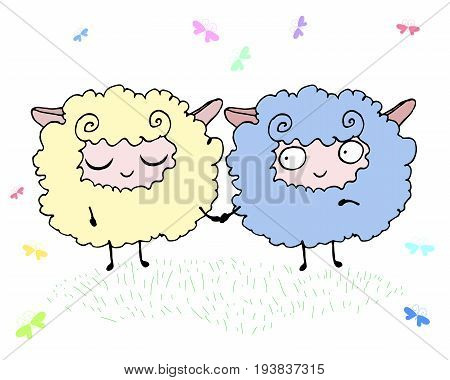 Two happy funny fluffy lambs in a meadow surrounded by butterflies isolated. Vector hand drawn illustration cute cartoon lamb.Art card for adult and children. Coloring book print poster design