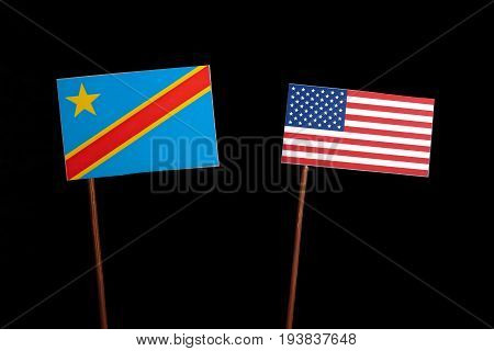 Democratic Republic Of The Congo Flag With Usa Flag Isolated On Black Background