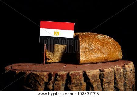Egyptian Flag On A Stump With Bread Isolated