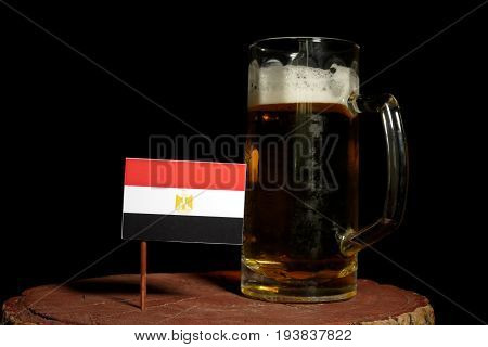 Egyptian Flag With Beer Mug Isolated On Black Background