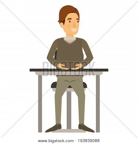 colorful silhouette of man in formal clothes and brown hair side fringe and sitting in chair in desktop vector illustration