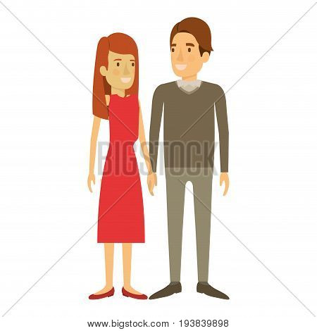 colorful silhouette of man and woman standing and her with long hair straight and him in formal clothes and hair side fringe vector illustration