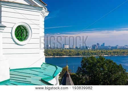 Architecture of the Kiev-Pechersk Lavra against the blue sky
