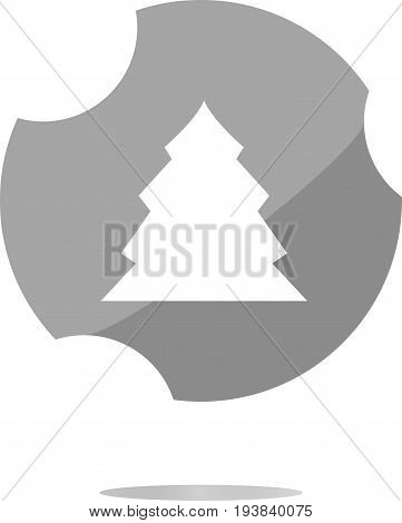 Button With Christmas Tree On It . Flat Sign Isolated On White Background