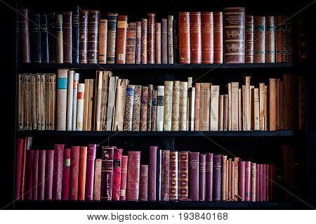 TORRE ALFINA, ITALY. November 8, 2015: Ancient shelf with many books of the eighteen hundred inside the castle of Torre Alfina in Italy. Indoor hall of the castle.