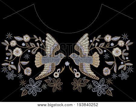 Embroidery ethnic neckline pattern with pigeons and flowers. Vector embroidered floral design with birds for fashion.