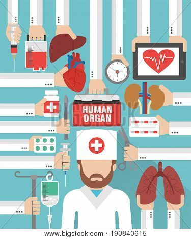 Human organ for transplantation design flat with doctor surgeon.Vector illustration