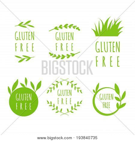 Vector Gluten Free labels stickers tags and shapes for natural organic food on white background. Eco stains set