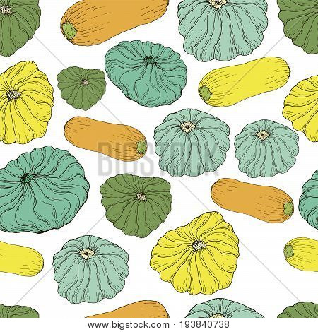 Pattypan and summer squash seamless vector pattern. Hand drawn colored background of yellow zucchini and patisson for coloring book textile print poster design.