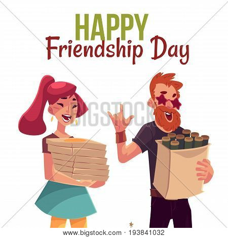 Happy friendship day greeting card design with friends hurrying to a party, fetching beer, pizza, cartoon style vector illustration isolated on white background.