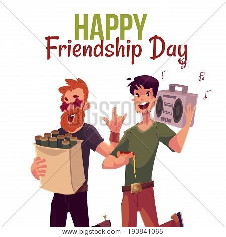 Happy friendship day greeting card design with friends hurrying to a party, fetching beer, music, cartoon style vector illustration isolated on white background.