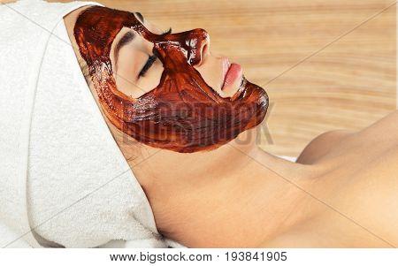 Facial spa mask treatment brown aroma skincare