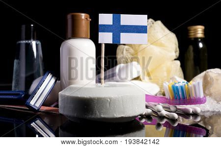 Finnish Flag In The Soap With All The Products For The People Hygiene