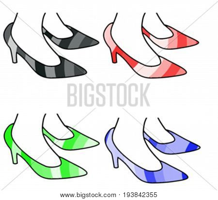 Ilustration of high heels. Woman stilettos. Pumps: black, red, green, blue