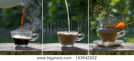 black coffee on the garden table - sequence