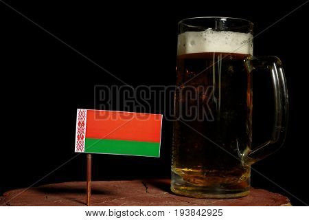 Belarus Flag With Beer Mug Isolated On Black Background