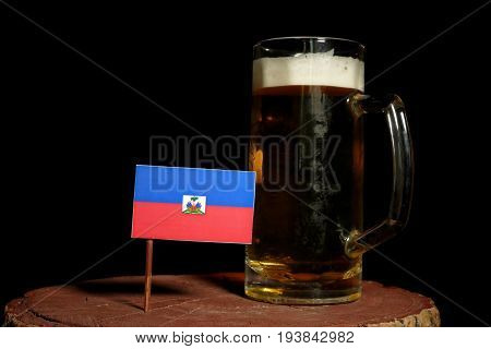 Haitian Flag With Beer Mug Isolated On Black Background