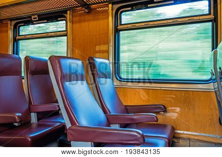 Passenger seat train concept trip movement the effect of movement outside the window