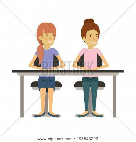 white background with women sitting in desk one with collected hair and the other with ponytail hairstyle vector illustration