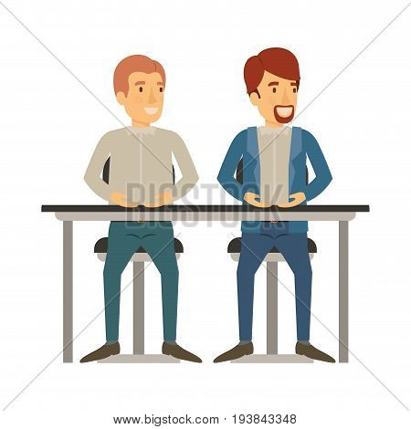 white background with men sitting in desk one with casual clothes and reddish hair and the other with formal clothes and van dyke beard vector illustration