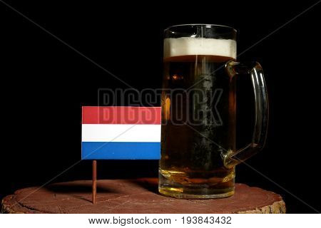 Dutch Flag With Beer Mug Isolated On Black Background