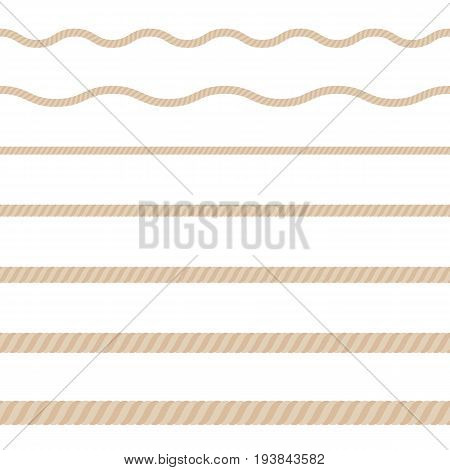 Ropes of different thicknesses on white background. Vector illustration.