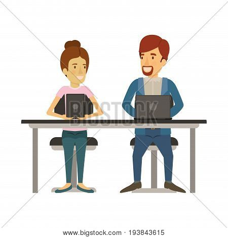 white background with teamwork of woman and man sitting in desk with tech devices and her with collected hair and him in casual clothes with van dyke beard vector illustration