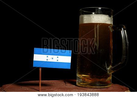 Honduras Flag With Beer Mug Isolated On Black Background