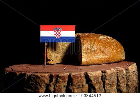 Croatian Flag On A Stump With Bread Isolated