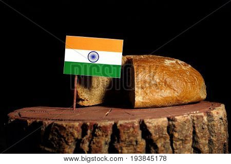 Indian Flag On A Stump With Bread Isolated