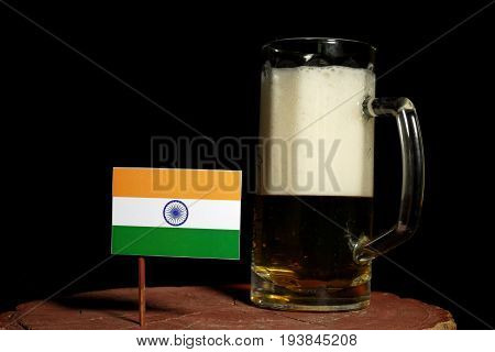 Indian Flag With Beer Mug Isolated On Black Background