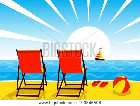 vector deck chairs, beach ball and flip flops on the beach and sailboat floating on the sea