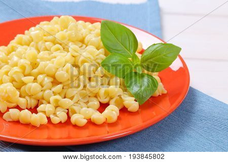 plate of small pasta shells on blue place mat - close up