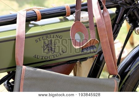Sandhurst, Surrey, Uk - June 18Th 2017: Fuel Tank Of The Retro Sterling Autocycle Motorcycle, With V