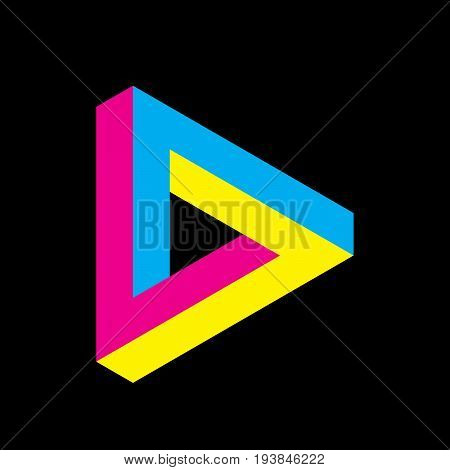 Penrose triangle icon in CMYK colors. Geometric 3D object optical illusion. Vector illustration. Printing studio theme.