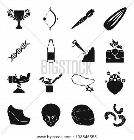 medicine, sport, farm, mine and other  icon in black style.religion, astronomy icons in set collection.