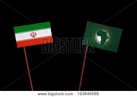Iranian Flag With African Union Flag Isolated On Black Background